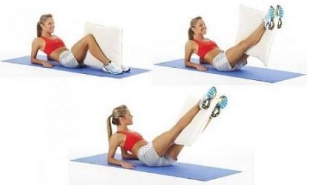 Упражнение для ног с подушкой