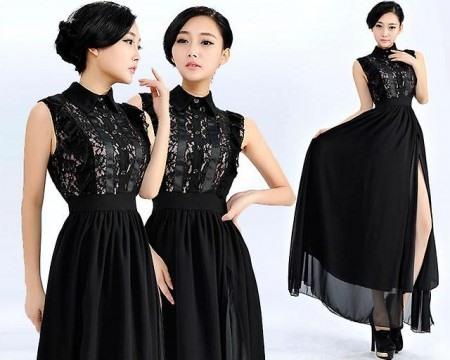 Черное повседневное длинное платье